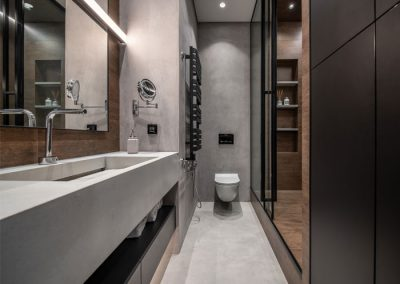 modern wardrobe and bathroom